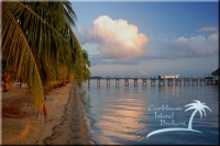 Calm beach in the early morning at Kanantik in Belize. Resort for sale