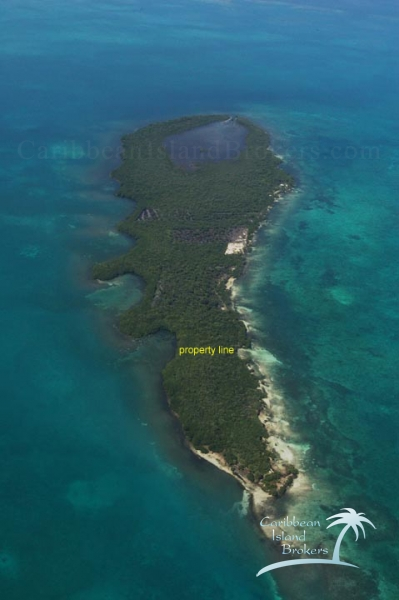 Cross Caye aerial with property line